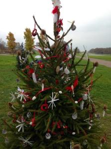 Red and white angel tree